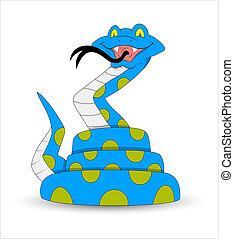 Scary and Funny Rattlesnake Vector - Creative Abstract...