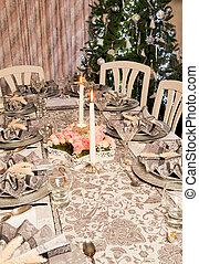 Napkins on a christmas table