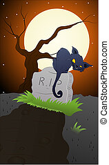 Cat on a Grave Stone