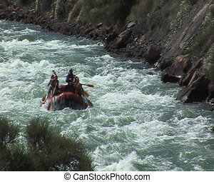 Rafting. - The Rubber raft with tourist on mountain river.