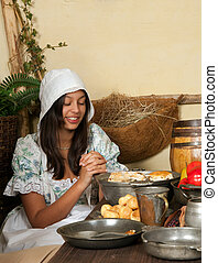 Thanksgiving praying girl - Reenactment scene of the first...