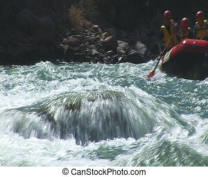 Rafting - The Rubber raft with tourist on mountain river