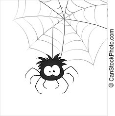 Funny Spider and Web - Creative Abstract Conceptual Design...
