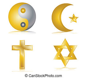 Four gold glossy icons religion - Four gold glossy icons for...