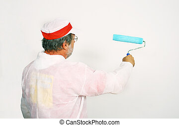 Roller paint - Man with white outfit having a roller paint