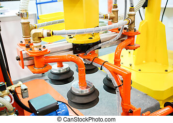 Closeup of robotic for move package in logistic warehouse