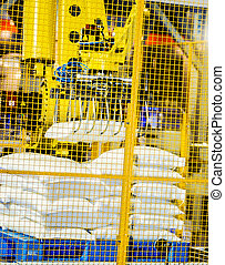 Palletizing Robot transport the white bag