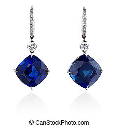 Diamond and blue sapphire earrings isolated on white
