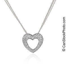 Diamond heart necklace isolated on white background.