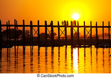 Bridge in Myanmar - famous tick bridge at sunset in Myanmar
