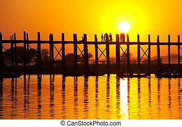 Bridge in Myanmar - famous tick  bridge at sunset in Myanmar