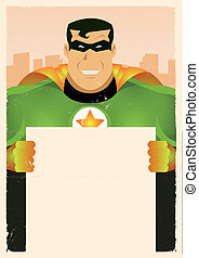 Comic Super Hero Holding Sign - Illustration of a stylized...