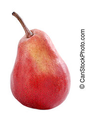 red pear - red william pear in front of white background