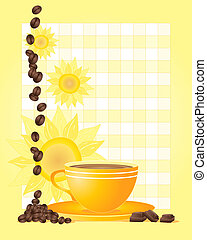 coffee bean design - an illustration of a yellow cup and...