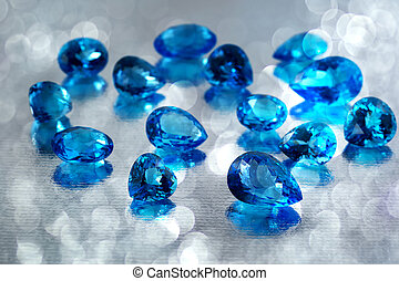 Group of topaz gemstones.