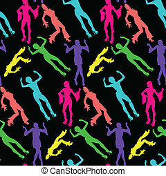 60s disco dancing seamless pattern - 60s dancer silhouettes...