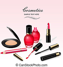 illustration a background with cosmetics lipstick ink a...