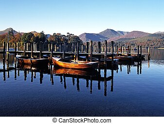 Derwent Water, Keswick, England. - Rowing boats and moorings...