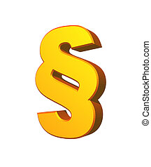 law - golden paragraph symbol on white background - 3d...