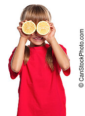Little girl with lemon - Cute little girl with fresh lemon...
