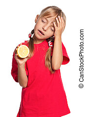 Little girl with lemon - Sick little girl with a lemon...