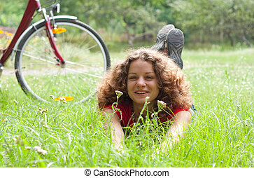 beautiful girl with a bicycle