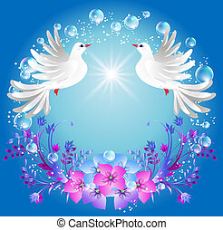 Two doves and flowers - Two doves on blue background with...