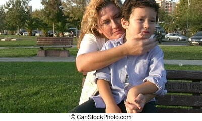 Mother and son steady cam shot