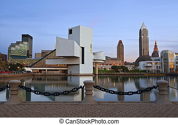 Cleveland. - Image of Cleveland harbor district at twilight.