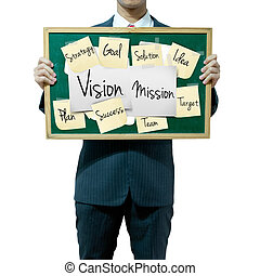 Business man holding board on the background, Vision