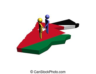 Meeting on Jordan map flag illustration