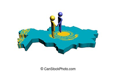 Meeting on Kazakhstan map flag illustration