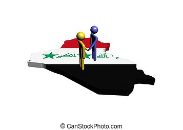 Meeting on Iraq map flag illustration