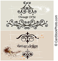 Two Vintage grunge template frame. Vector