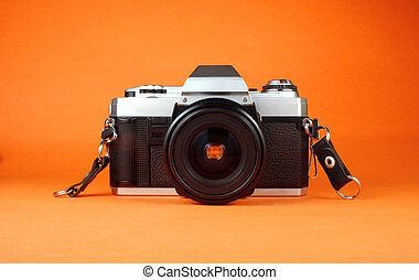 Vintage 35mm Camera - Vintage 35mm camera front view on...