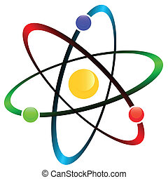 Atom symbol - Orbital model of atom isolated on white...