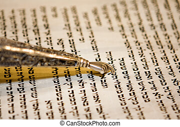 Torah and Yad - Reading a Torah scroll during a bar mitzvah...