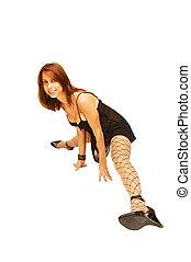 Woman standing on floor.