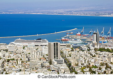 View from Mount Carmel to port and Haifa in Israel.Sunny...
