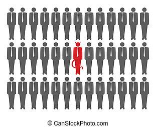 Vector illustration of devil in crowd of businessmen