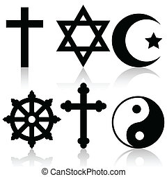 Religious symbols - Illustration of religious symbols on a...