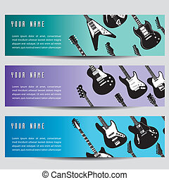 A set of three guitar banners