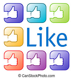 set of like icons - A set of like icons in a rainbow of...