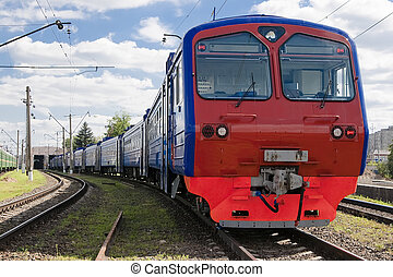 The train leaves the depot at suburban stations
