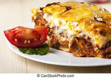 lasagne, plaque, tomate, couper