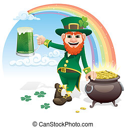 Leprechaun with glass of green beer and pot of gold. No...