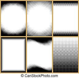 Halftone Frames - Set of 6 halftone frames