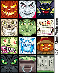 Halloween Avatars  - Set of 12 Halloween square avatars.