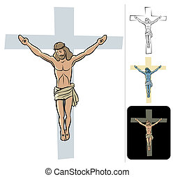 Jesus - Illustration of the crucified Jesus. 3 additional...