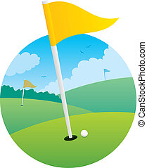 Golf Flag - Illustration of golf course, focusing on the...